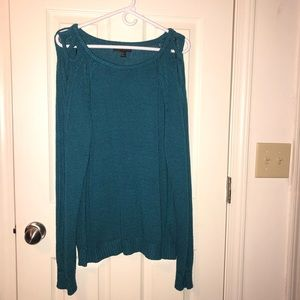 Plus Size Teal Braided Arm Sweater Forever 21